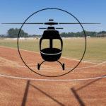 photo montage du stade avec un hélicoptère